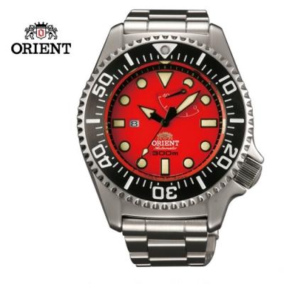 ORIENT 東方錶 GAS- DIVING系列 300m專業潛水機械錶 鋼帶款 紅色 SEL02003H- 45.7mm