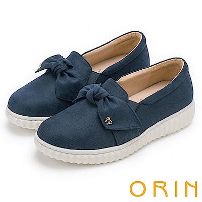 ORIN 俏麗女孩 立體蝴蝶結休閒平底便鞋-藍色