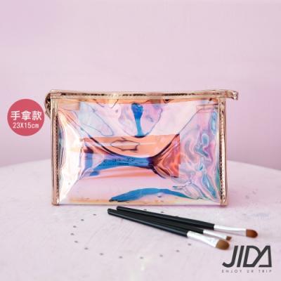 JIDA 網美款 雷彩TPU耐磨防水厚款半透盥洗包/化妝包(手拿款) 23x15cm