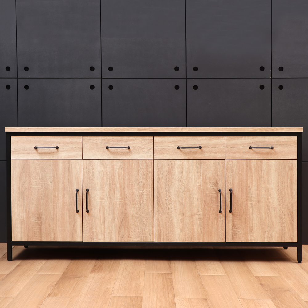 D&T德泰傢俱格萊斯原切木輕工業風6尺餐櫃-181.3x45.3x84.2cm