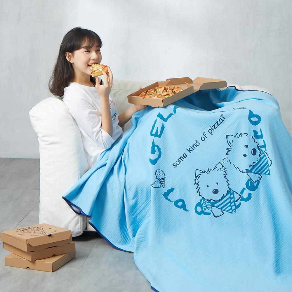 Yvonne Collection 領巾狗單人包紗薄被 (5x7呎)-中藍