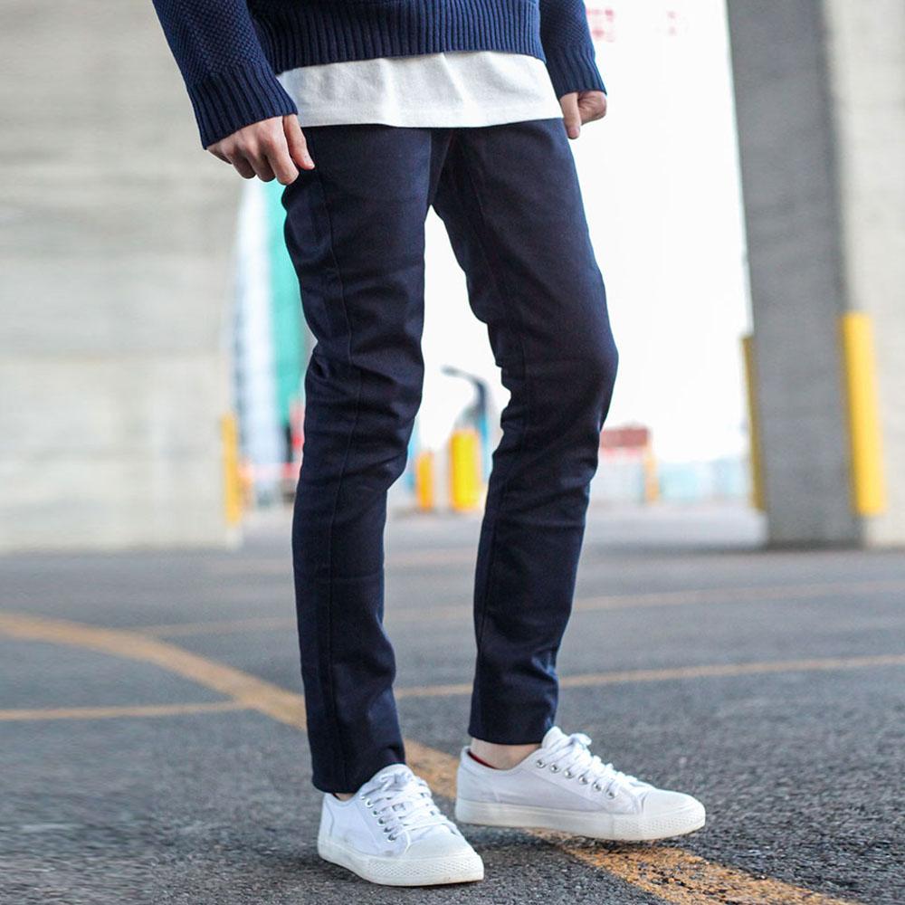 窄管褲長褲窄版混紡(5色) ZIP日本男裝