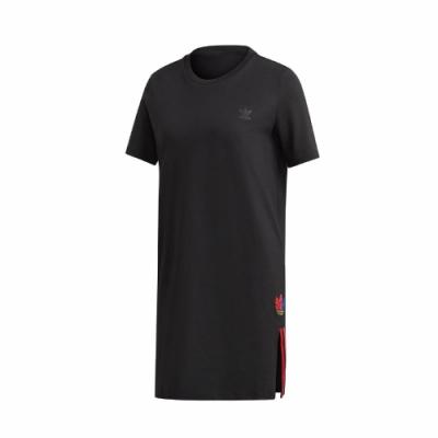adidas 洋裝 Adicolor Tee Dress 女款 愛迪達 三葉草 一件式 側開岔 寬鬆 黑 彩  GD2233