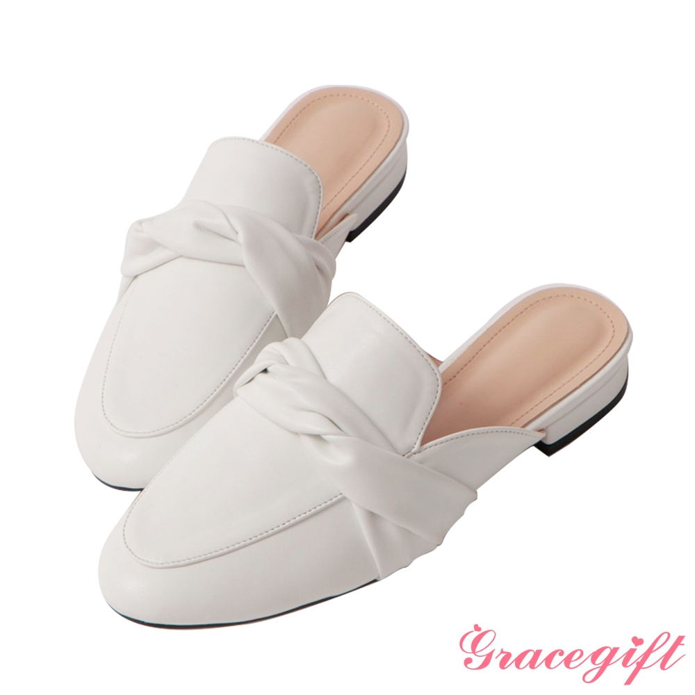 Grace gift-扭結設計低跟穆勒鞋 白