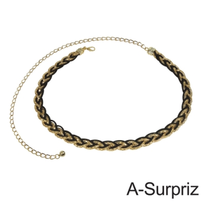 A-Surpriz 金屬鍊麂皮線交叉編織腰鍊(黑金)