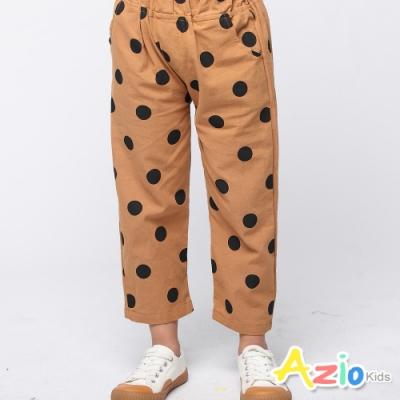 Azio Kids 女童 褲子 點點雙口袋彈性長褲 (咖啡)