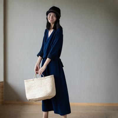旅途原品_輕禪_莫代爾棉斜襟禪意連衣裙- 黑藍