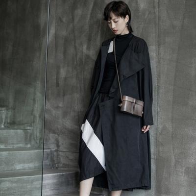 設計所在Style-秋季韓版簡約缺口設計寬鬆休閒風衣外套