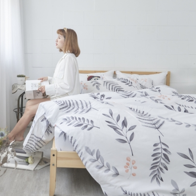 BUHO 天然嚴選純棉單人床包 雙人被套三件組(清羽飛揚)