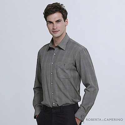 ROBERTA諾貝達 台灣製 時尚型男 千鳥格紋保暖長袖襯衫  深灰
