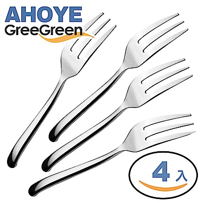 GREEGREEN  304 不鏽鋼甜品叉  4 入組 水果叉 叉子 餐具