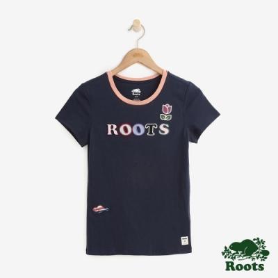 女裝Roots- 立體貼布短袖T恤-藍