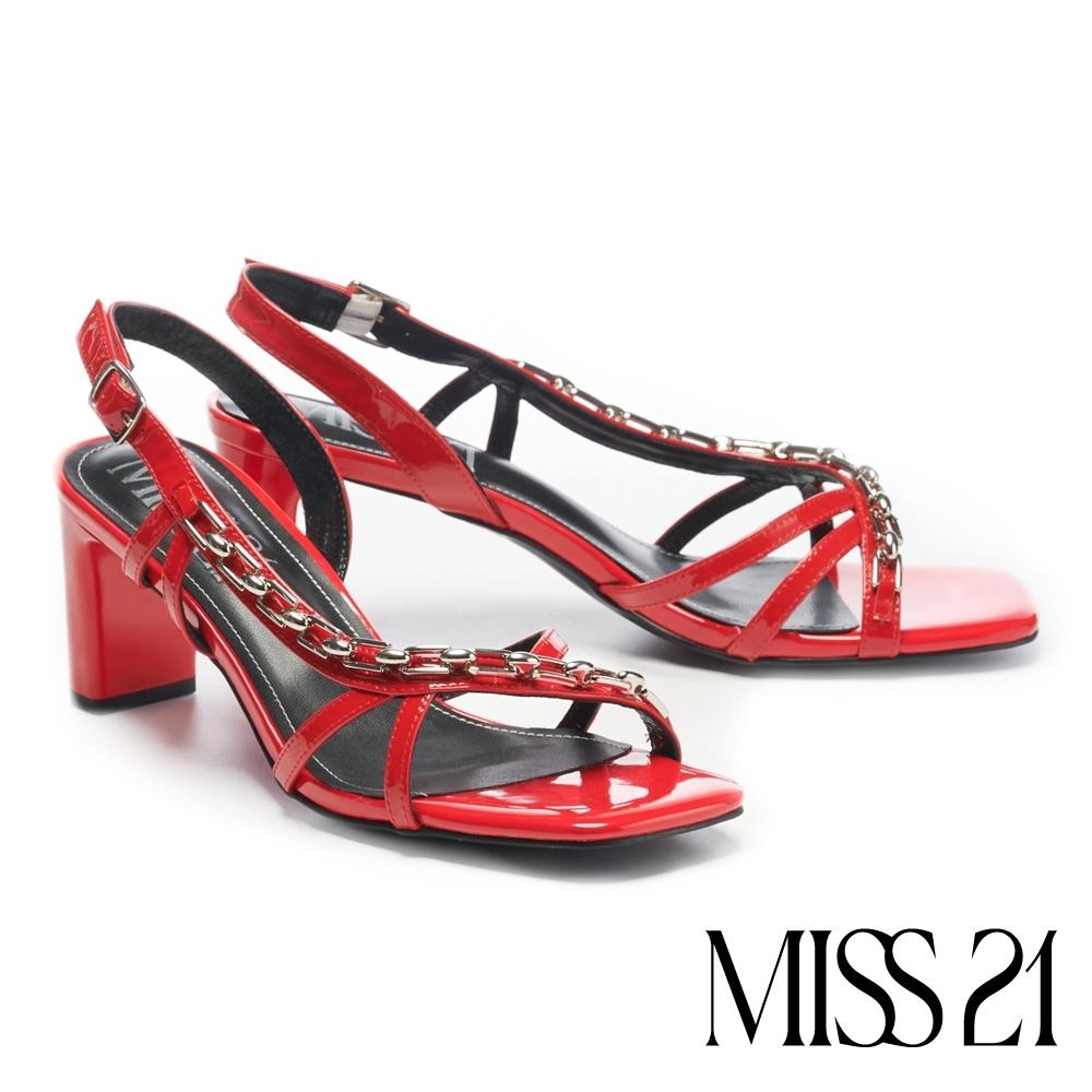 涼鞋 MISS 21 霸氣壞美漆皮交叉繫帶鏈條方頭高跟涼鞋-紅