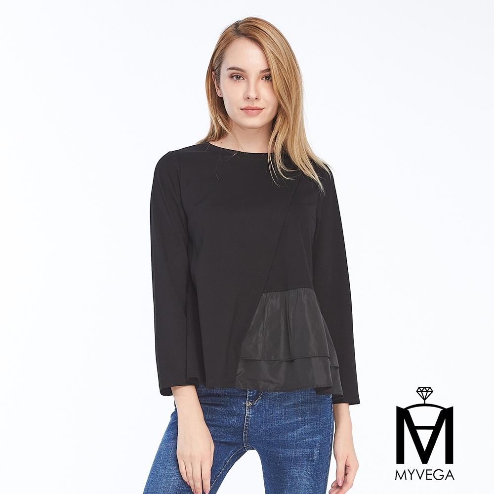 麥雪爾 MA異材拼接造型裙擺上衣-黑