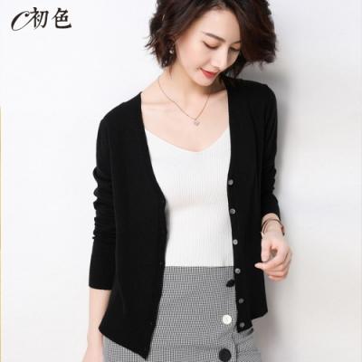 初色  V領長袖薄款針織開衫外套-黑色-(M-2XL可選)