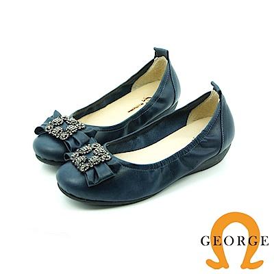 【GEORGE 喬治皮鞋】都會休閒 方形水鑽平底鞋娃娃鞋-藍