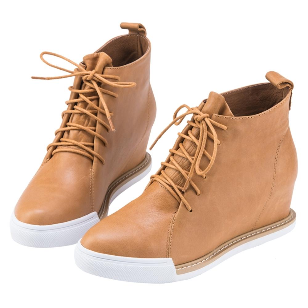 Robinlo 帥氣復古風牛皮綁帶內增高短靴 棕色