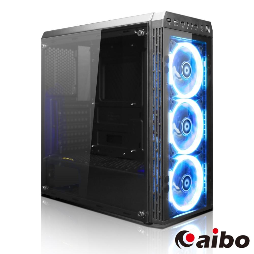 aibo X1 暴風 USB3.0  3發光風扇遊戲機殼(玻璃側板)