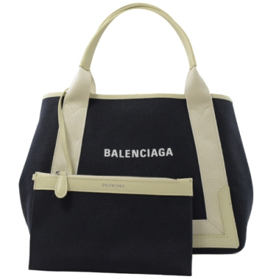 BALENCIAGA NAVY 簡約款手提帆布包(深藍)