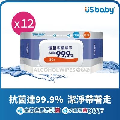 優生 超厚型抗菌酒精濕巾(80抽12包)