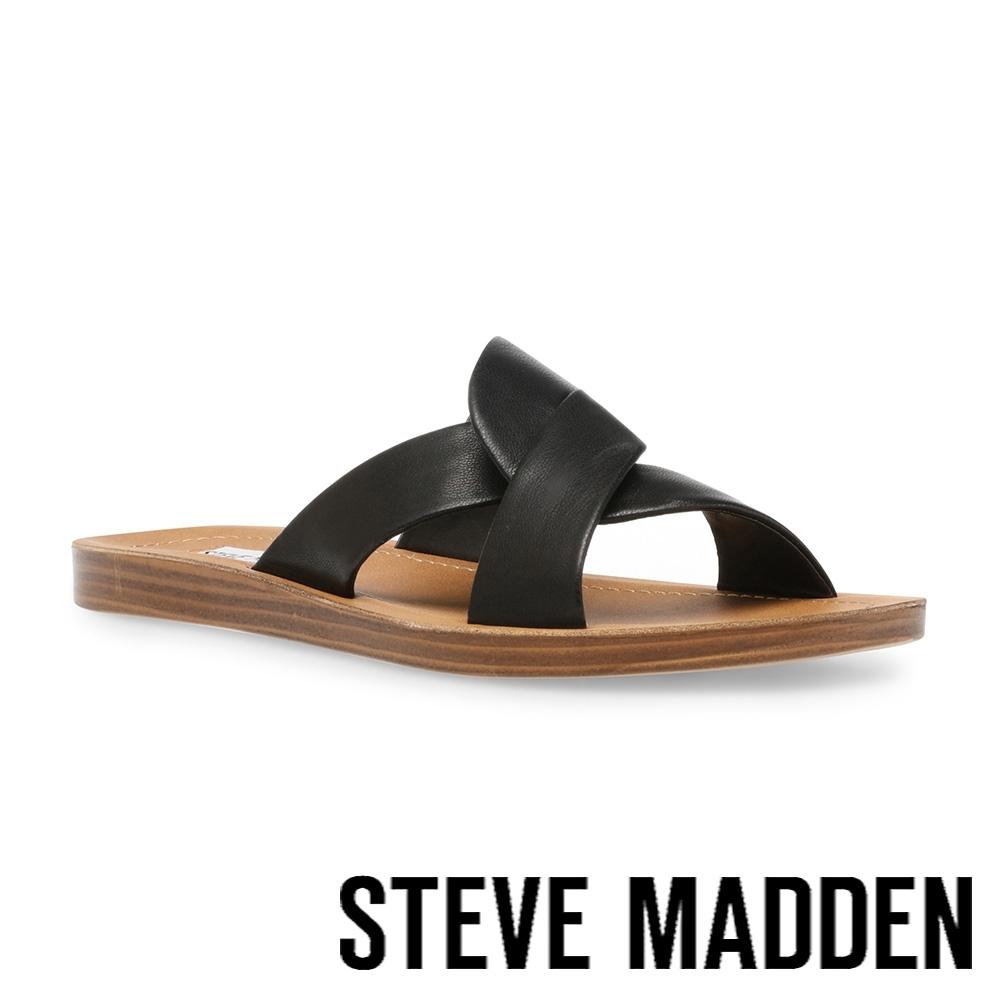 STEVE MADDEN-REALM 皮質交叉帶休閒涼拖鞋-黑色