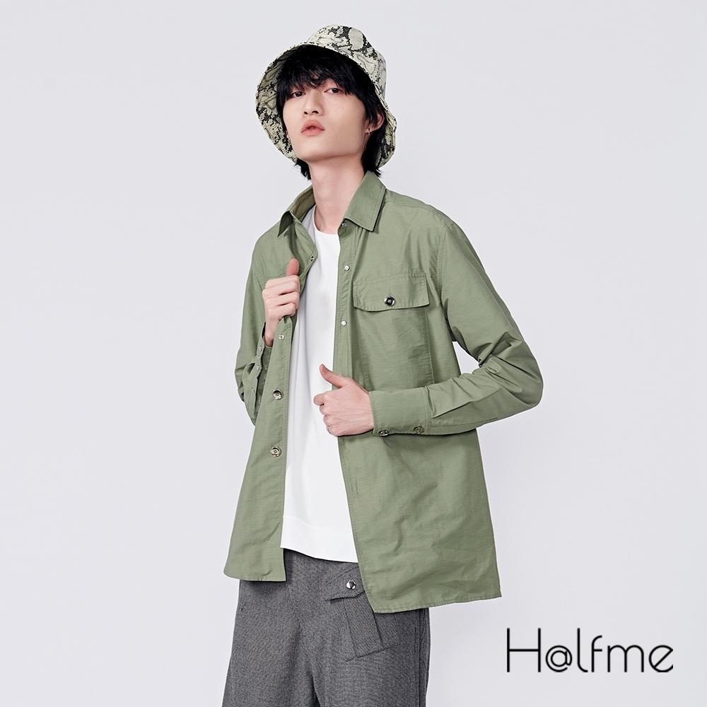Halfme-口袋不對稱設計款襯衫-男性