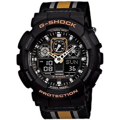 G-SHOCK 重型機械感粗獷個性風格男錶-帆布(GA-100MC-1A4)/35mm