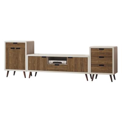 綠活居 凱琳 現代8.9尺雙色電視櫃/視聽櫃組合(高&低展示櫃+電視櫃)-265.5x39.5x85cm免組