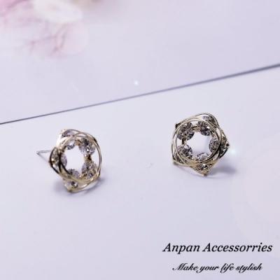 【Anpan 愛扮】韓東大門小清新鏤空纏繞鑽石五葉花耳釘式耳環