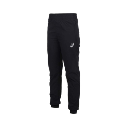 ASICS 女平織長褲-縮口 慢跑 運動 亞瑟士 K12035-90 黑銀