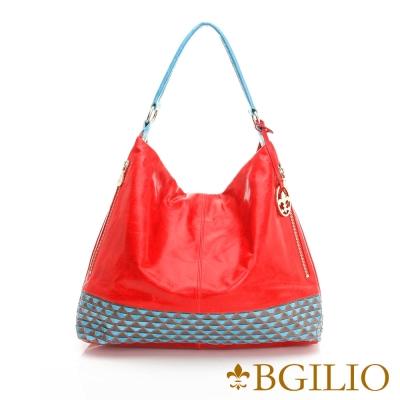 義大利BGilio - 義大利牛皮手工編織時尚造形肩背包-紅色1944.005-01