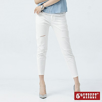 5th STREET 隨性刷破窄直筒色褲-女-白色