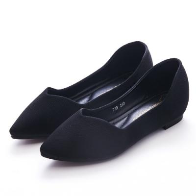 A one 尖頭仿針織布V口剪裁內增高平底包鞋 -黑色