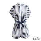 單排釦格紋連身褲(配腰帶) TATA