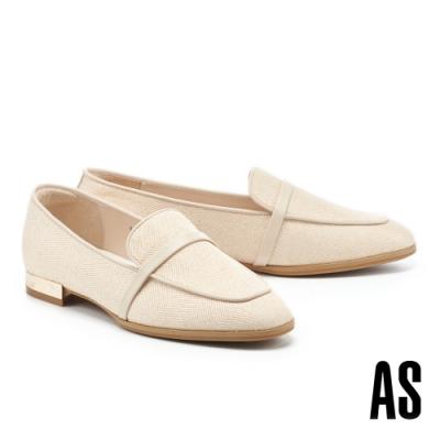 低跟鞋 AS 時髦雅痞異材質拼接羊皮方頭樂福低跟鞋-米