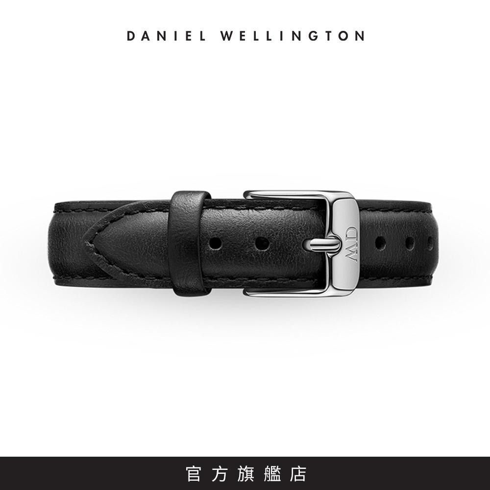 DW 錶帶 14mm銀扣 爵士黑真皮皮革錶帶