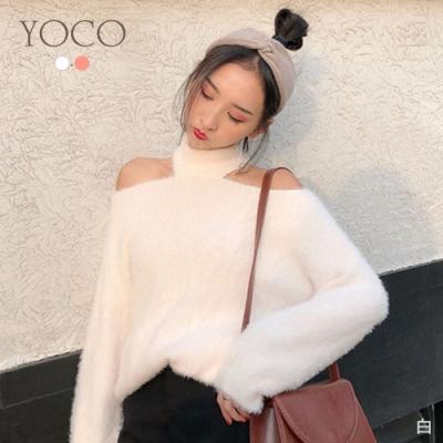 東京著衣-YOCO 溫柔加倍微高領雙挖肩毛毛上衣