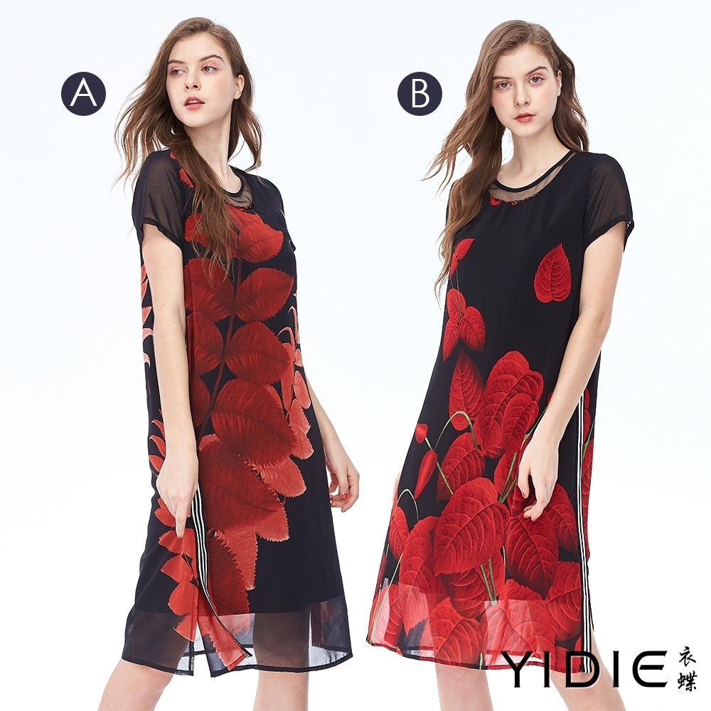 YIDIE衣蝶 印花滾邊線條厚雪紡長洋裝-共兩款