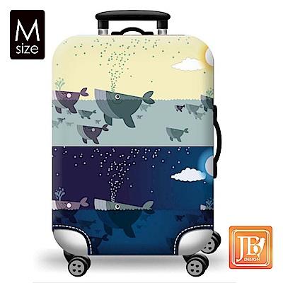 繽紛行李箱套-藍色鯨魚M