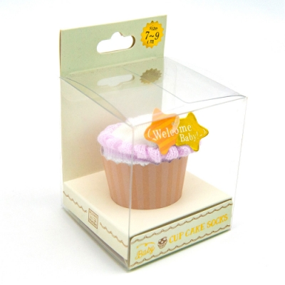 【SUKENO】Welcome Baby!防滑嬰兒襪-甜甜杯子蛋糕(紫色莓果)