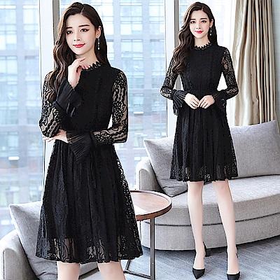典雅黑色鏤空蕾絲氣質公主袖洋裝S~XL-REKO