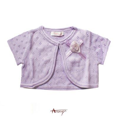 Annys素雅洞洞壓紋玫瑰蝴蝶結小外套*1178紫