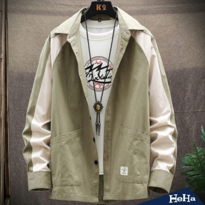 HeHa-休閒拼色長袖襯衫外套 四色