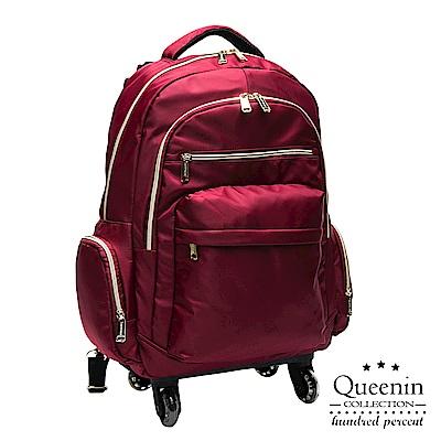 DF Queenin流行 - 大寬口可拆式360度滾輪休閒拉桿後背包(大)-紅色