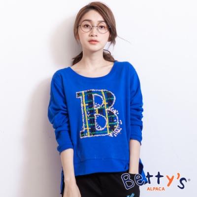 betty's貝蒂思 下擺開衩前字母刺繡上衣(藍色)