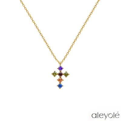 ALEYOLE 彩鑽十字架925純銀鍍18K金項鍊 LOYALTY GOLD