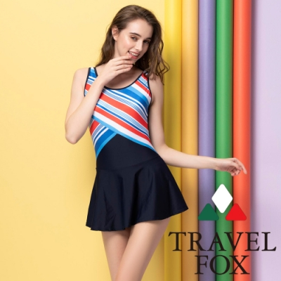 TRAVEL FOX夏之戀 大女條紋連身裙(加大碼)
