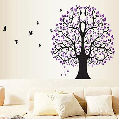 半島良品 DIY無痕壁貼-紫大樹 DF5098 60x90cm