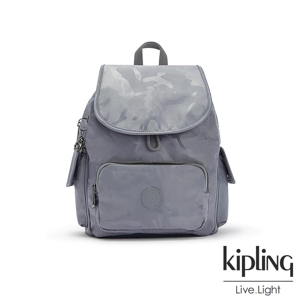 Kipling 光澤霧灰紫迷彩拉鍊掀蓋後背包-CITY PACK S