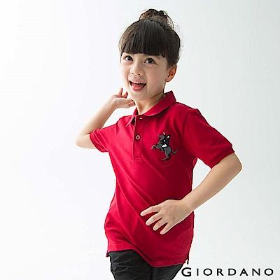 GIORDANO 童裝彩色拿破崙刺繡彈力萊卡短袖POLO衫-08 標誌紅